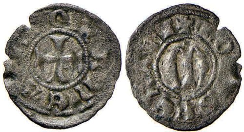 Figura 5: Zecca di Chivasso Giovanni I Paleologo (1338-1372) obolo bianco Prov.~Asta Numismatica Felsinea 1, 25 gennaio 2015, lotto 645.