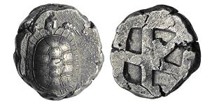 Figura 17 Stateri di Aegina con tartaruga marina e terrestre