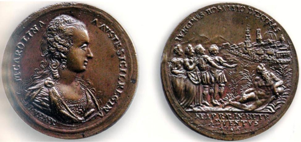Figura 4: 1785  Per il viaggio in Etruria (D'Auria 44); D./ M . CAROLINA . A. AVSTR . SICIL . REGINA ; Busto a destra della Regina in abito regale. All'esergo: I . VEBER R./ IVNGIMVS . HOSPITIO . DEXTRAS . (Congiungemmo le destre nell'ospitalità); Gruppo di quattro personaggi Reali in piedi, a destra l'Arno seduto, in fondo veduta della città di Firenze. All'esergo: NEAP . R . R . IN . HETR / ADVENTVS / 1785.