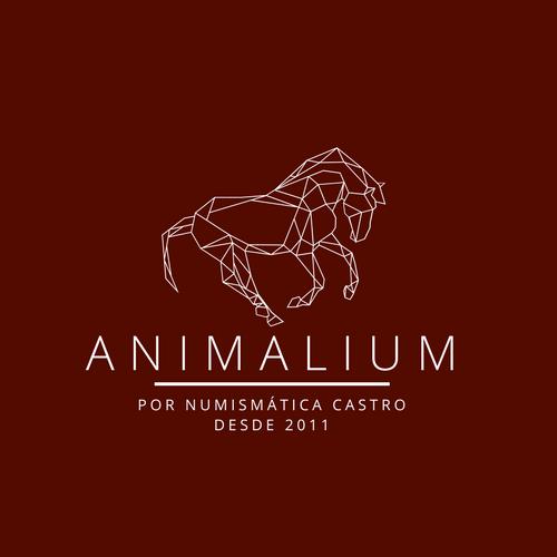 Imagem de um cavalo acima do titulo da série animalium, abaixo temos escrito o nome da empresa numismática castro e sua data de fundação que é o ano de 2011