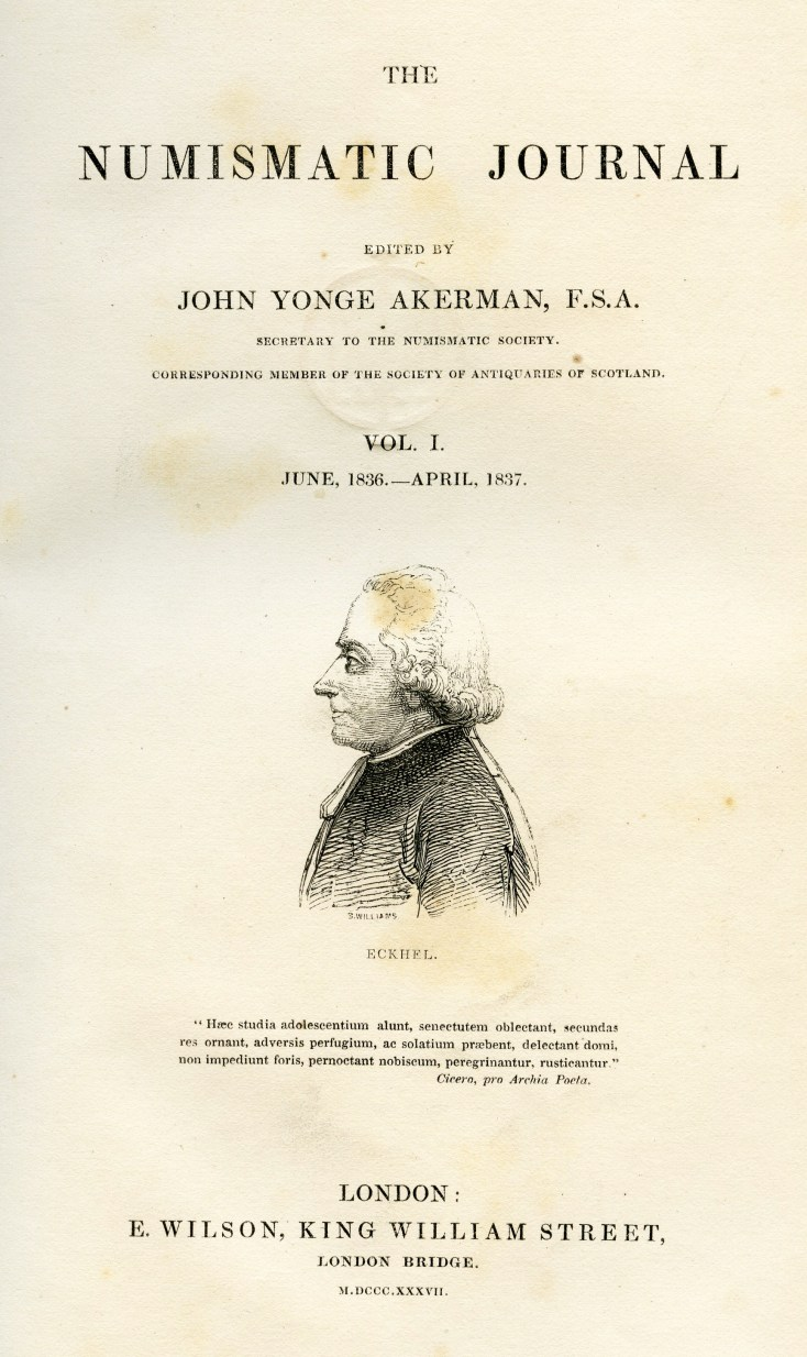 The Numismatic Journal, Vol. I, front page (1836-1837), featuring the portrait of J.H. Eckel