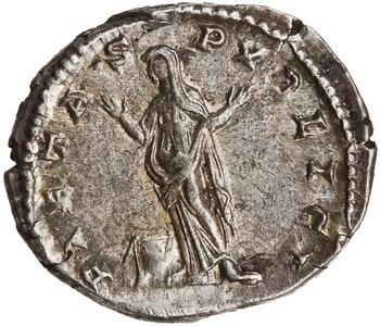 Reverse of Silver Denarius, Rome, AD 196 - AD 211. 1944.100.51304