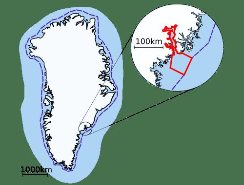 Coastline of Greenland and Sermilik Fjord
