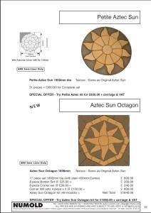Numold - Moulds for Concrete Products - ABS Price List Page 12 - Petite Aztec & Aztec Sun Octagon