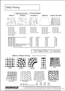 Numold - Moulds for Concrete Products - ABS Price List Page 32 - Utility Paving