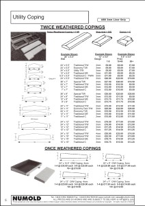 Numold - Moulds for Concrete Products - ABS Price List Page 5 - Utility copings