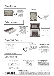 Numold - Moulds for Concrete Products - ABS Price List Page 7 - Block Paving