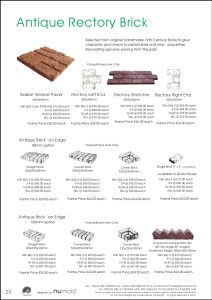 Numold - Moulds for Concrete Products - PU Price List Page 23 - Antique Rustic Brick