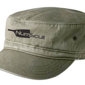 Numscull logo embroidered on an olive distressed military-style hat