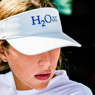 Embroidered H2Oar ® in white Flexfit ® visor with adjustable strap