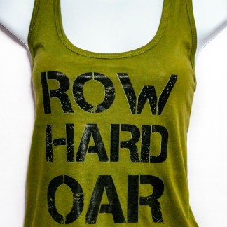 Women's Olive Green Row Hard Oar Go Home 60/40 Cotton/Polyester Racerback Tank Top