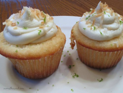 Coconut Cupcakes with Key Lime White Chocolate Frosting