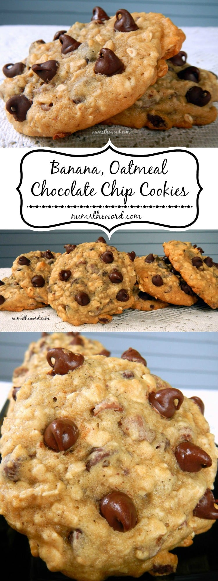 Banana, Oatmeal, Chocolate Chip Cookies - NumsTheWord