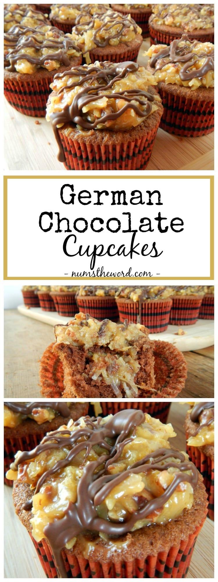 German Chocolate Cupcakes - NumsTheWord
