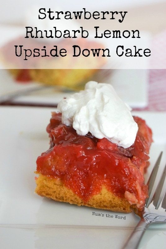 Strawberry Rhubarb Lemon Upside Down Cake Main Image on plate ready to eat