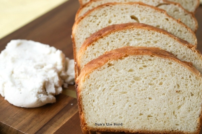 Leftover Mashed Potato Bread - sliced bread on cutting board.