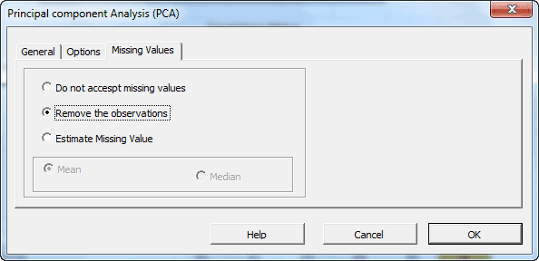 Missing values tab in NumXL principal component analysis dialog or wizard