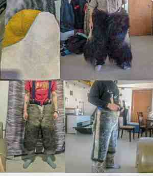 0309David Anavilok<br /> Sheila Tulurialik – submitted by common-law: David Anavilok<br /> Taloyoak<br /> Here is a picture of my stitched clothing my common-law made me. Pair of Muskox Pants/Caribou Pants/Seal Pants and Seal Mitts. Sewer is Sheila Tulurialik of Taloyoak, NU. All are natural tanned.