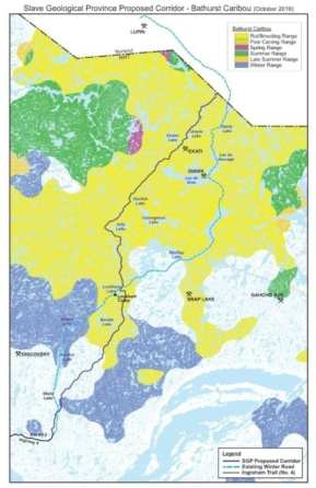 Map provided in a Nov. 13, 2016 return to oral questions displays the proposed Slave Geological Province Corridor route and caribou habitat. photo courtesy of GNWT