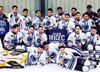 The Kivalliq Jr. Canucks peewee team bear their gold medals in triumph at the MICEC Annual Indigenous Minor Hockey Tournament in Winnipeg last month. Photo courtesy of Gleason Uppahuak