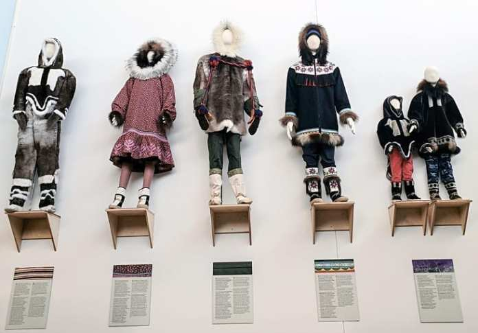 The Inuinnait stig collection on display at the Kitikmeot Heritage Museum in Cambridge Bay. Hand sewn by the late Mary Akhayok Avalak, the late Mary Nateet Kilaodluk, Annie Panak Atighioyak, and Mabel Pongok Etegik. Navalik Tologanak/NNSL photo