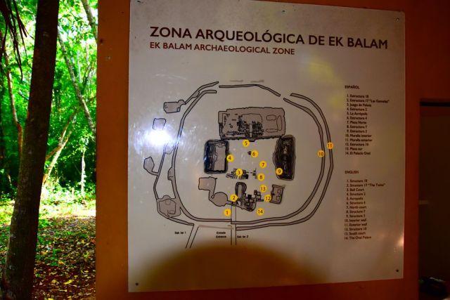 mapa de la zona arqueológica de Ek Balam