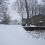Snow falls at Saint John's residence.