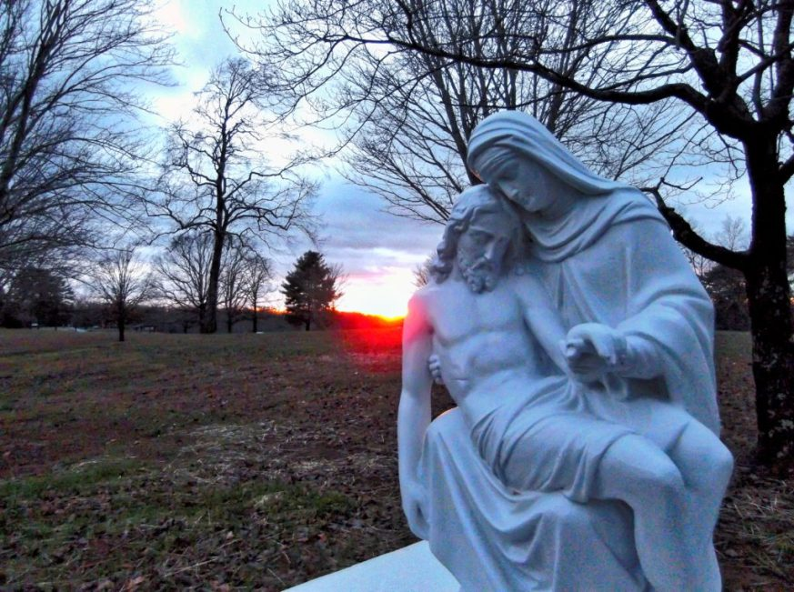 A view of sunset behind the Pieta.