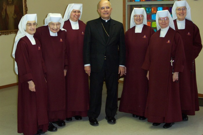 Cardinal George visiting Handmaids on their 25th anniversary of opening the Priory in the Archdiocese in 2008.