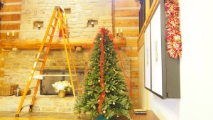 The nine foot tree needed a twelve foot ladder, and multiple attempts, to decorate it.