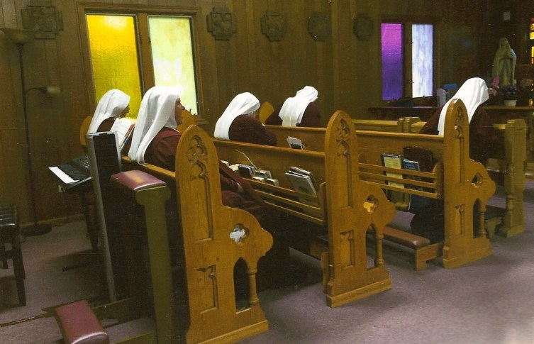Handmaids' side of their Chapel used for daily Mass, holy hours, and the Divine Office.