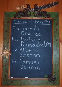 The Priest Chalkboard that hangs in our refectory