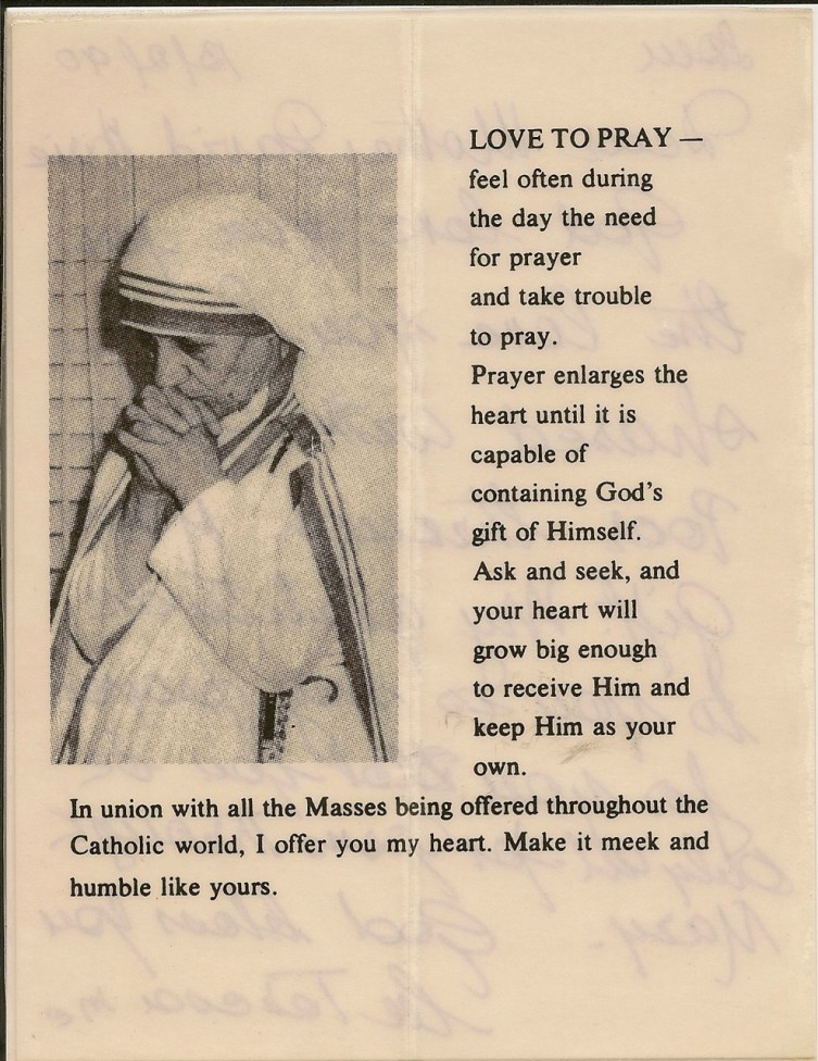 The back of a note Mother Teresa wrote to Mother David Marie.
