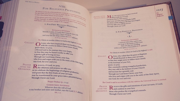 Sacramentary open to the Mass for Religious Profession