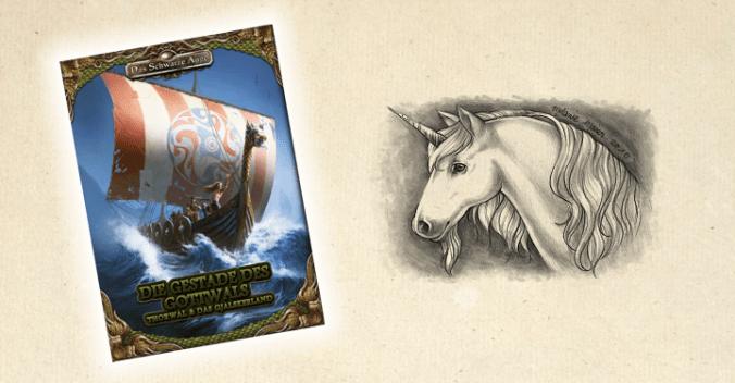 """Cover von """"Die Gestade des Gottwals"""" und Bild von Charlie, dem Einhorn"""