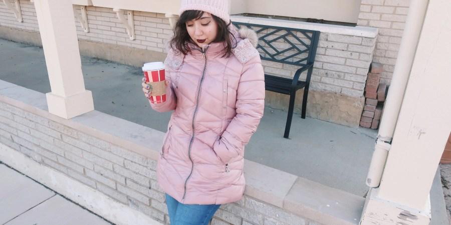 Drinking Starbucks Winter Downtown Park Ridge