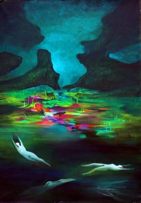 La memoria dell'acqua, acrilico su tela, 75x53, 2014