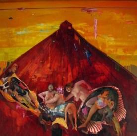 Chiara Sorgato, Misoginia(la stessa barca ovvero delirio sul mare),olio su tela 100x100 cm,2014