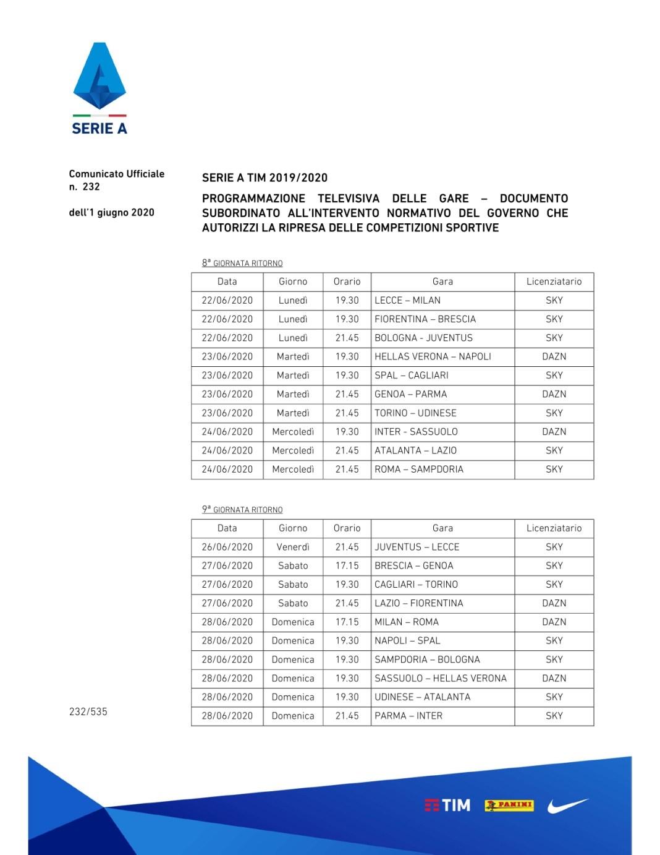 Serie A Si Riparte Con Torino Parma Il 20 Giugno Il Calendario Completo Sky E Dazn