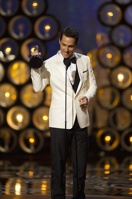 Matthew McConaughey con il suo Oscar