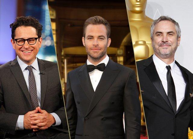 Presenterano le nominatio. da sinistra: J.J. Abrams, Chris Pine, Alfonso Cuaron.