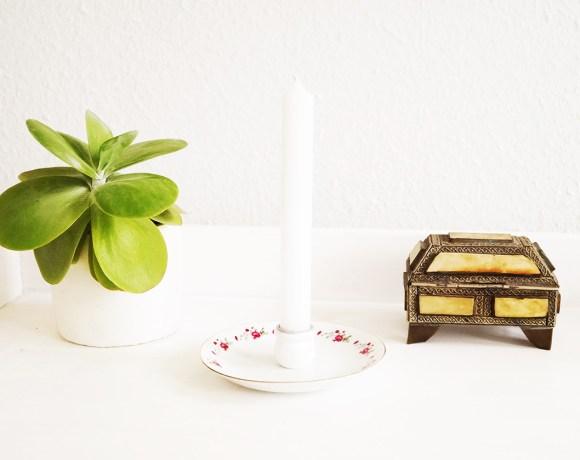 Kerzenhalter mit Untertasse basteln by Nur noch - DIY Anleitung
