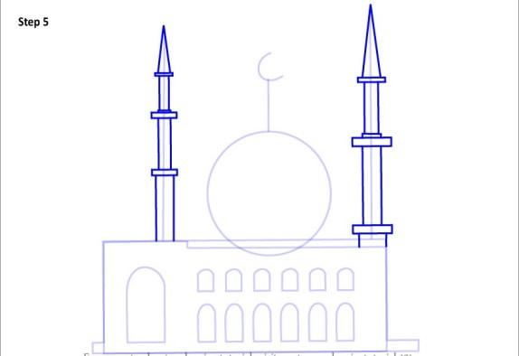 Cara Menggambar Sketsa Gambar Masjid