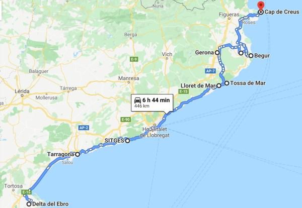 ruta en coche por la costa de cataluña