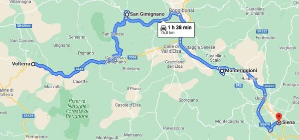 Mapa ruta Toscana