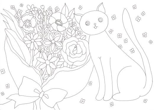 花束と猫の塗り絵