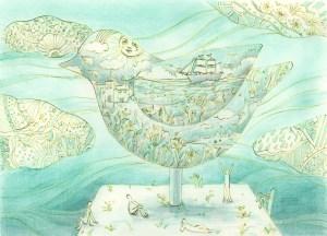 青で塗った空想上の鳥の塗り絵