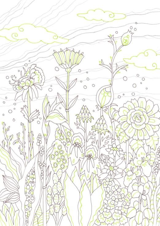 不思議な雰囲気の花が咲く花園の塗り絵