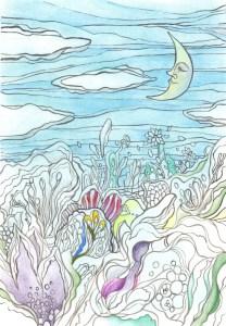 昼間に眠っている月と花の塗り絵