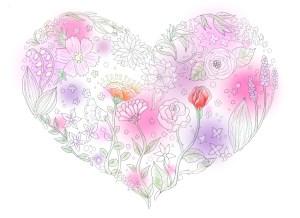 花の塗り絵の彩色例